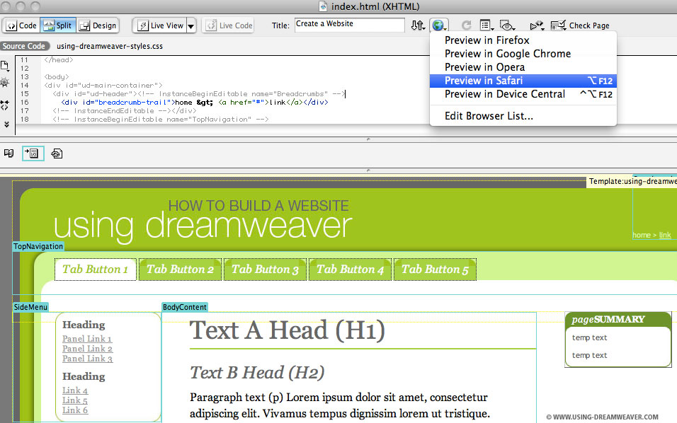 Create A Web Page From A Dreamweaver Template Using Dreamweaver - Create web page template