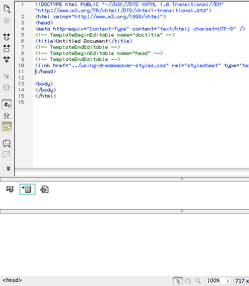 Split View in Dreamweaver